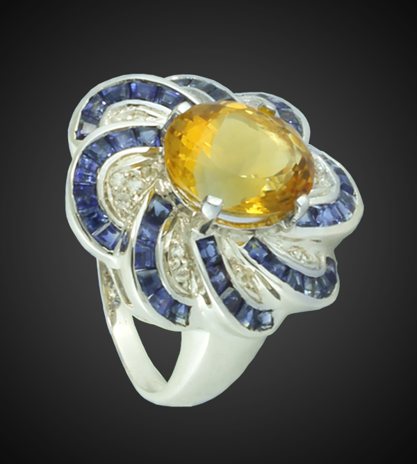 Citrine, Blue Sapphire and White Sapphire Ring